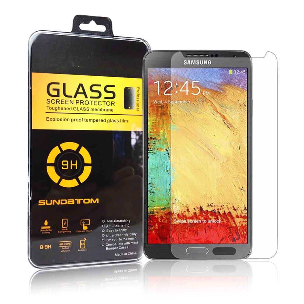 Sundatom 2.5D Ultra-Thin high quality screen protector Tempered Glass for Samsung Galaxy Note 3 III with hard plastic retail box(China (Mainland))