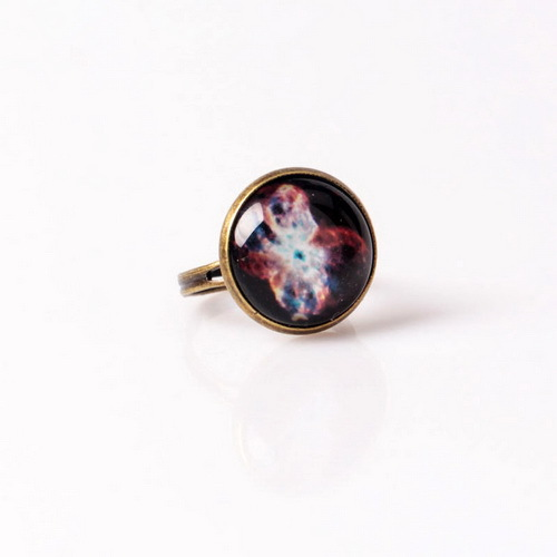 New Vintage Ring Glass Cabochon Galaxy Nebula Space Adjustable Bronze Copper Rings For Women&Men Fine Jewerly NO.34(China (Mainland))