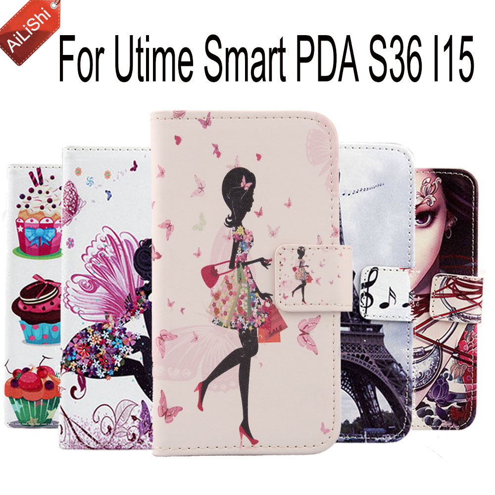 Multicolor PU Fashion Leather Case With Card Slot For Utime Smart PDA S36 I15 Book Flip Cartoon Painted Cover Skin In Stock(China (Mainland))