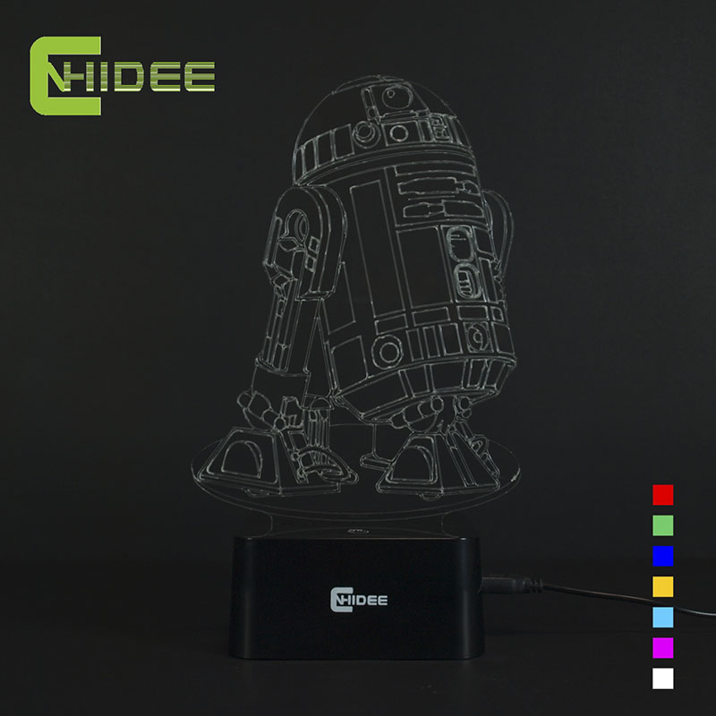 CNHIDEE USB Novelty 7 Colors 3d Lampara Night Light Star Wars R2D2 Robort Led Lampara as
