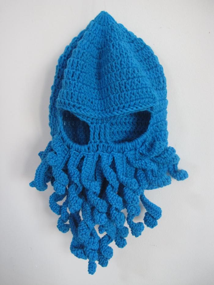 Novelty Cool Handmade Knitting Wool Funny Animal Cthulu Beard Octopus Hats caps Crochet Tentacle Beanies Men