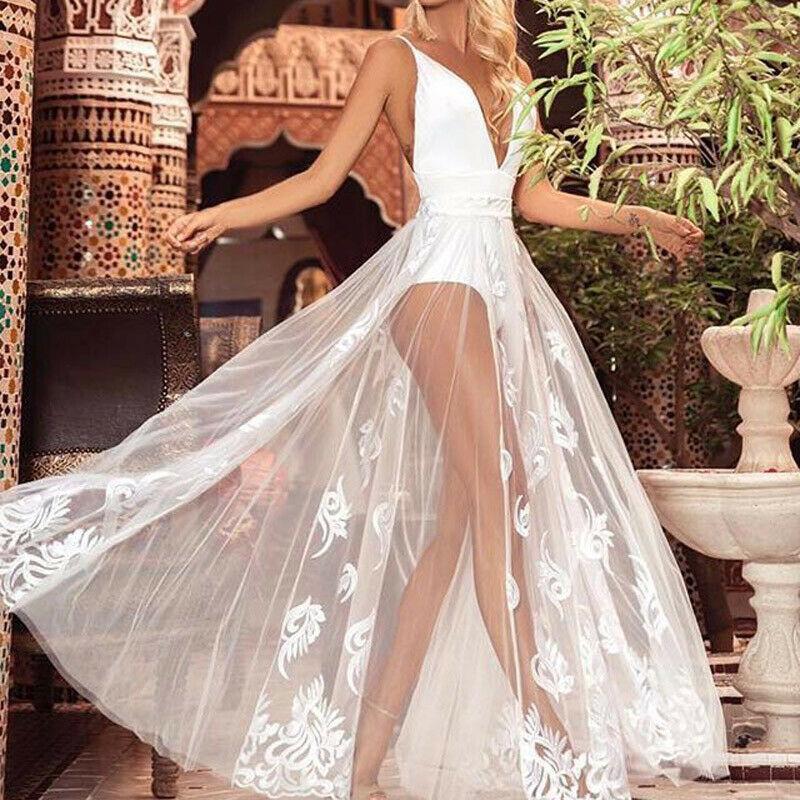 Для женщин макси летнее платье бeз рyкaвoв пляжный вечерние комбинезон белый
