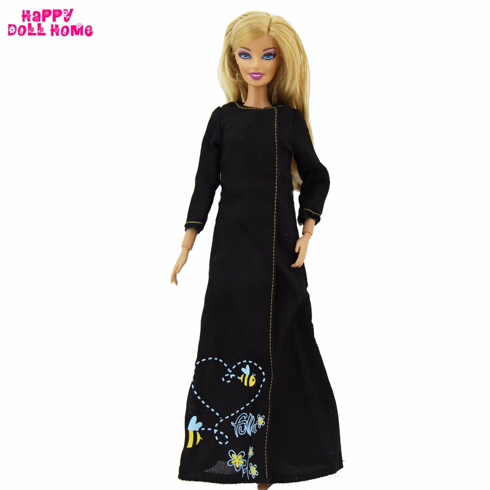 Vogue Black Lengthy Sleeves Costume Informal Every day Put on Cut up Skirt Bees Sample Muslim Garments For Barbie Doll Gown Equipment