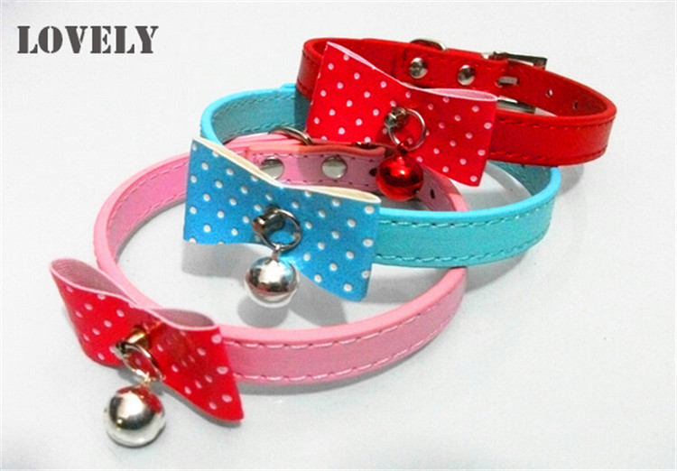 2015 Dog boutique PU leather Bells Necklace with Bow Products for animals Extra Small Collars for dogs Chihuahua Pet products(China (Mainland))