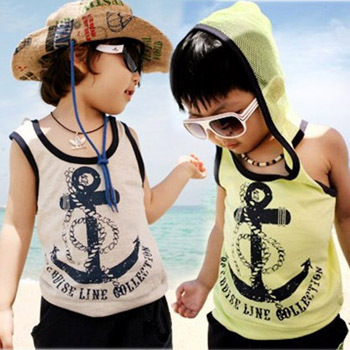Summer children's clothing men's clothing with a hood sleeveless pattern set
