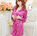 New Lingerie Women Ladies Open Front Satin Robe Sexy Sleepwear Nightwear Costume Pajamas Nightgown Sex Babydoll