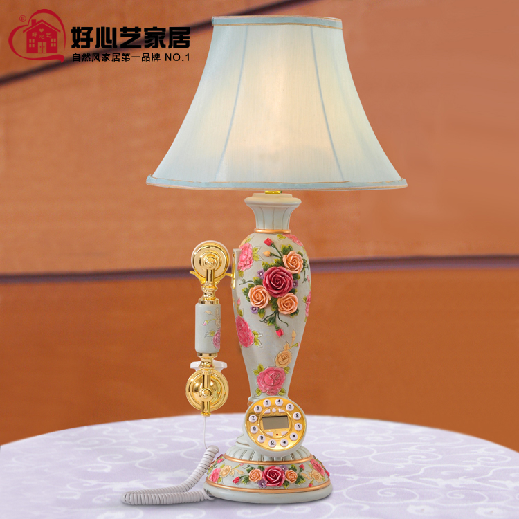 Fashion brief vintage antique rose table lamp telephone for foyer or dining room(China (Mainland))