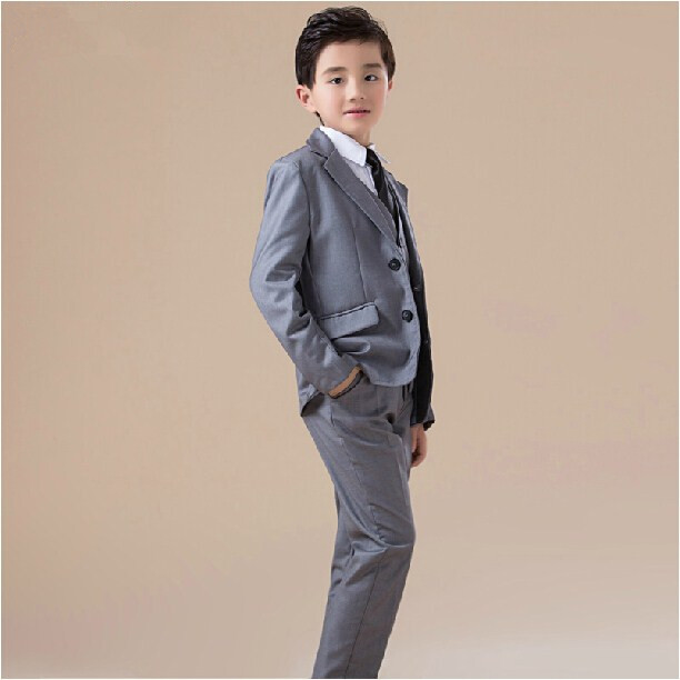 2015 fashion kids baby boys blazers suits formal silver clothing prom party wedding costume children flower boy outfit - charm of distant store