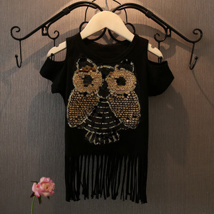 2015 Europe style new summer fashion baby girls owl black t shirt kids cotton tassel tees child short sleeve clothes shirts 2-6Y  -  Teenage store(drop shipping store)