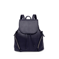 Korean Style Casual Daypack PU Backpack Women Fashion Drawstring Bag Side Zipper Pockets Solid Color Flap