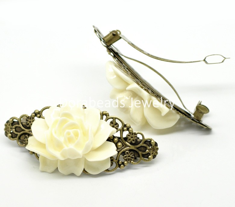 """2 Antique Bronze White Flower French Hair Barrette Clips 7.9x3.7cm(3-1/8""""x1-1/2"""") (C00319), yiwu(China (Mainland))"""