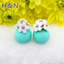 2016 neue Mode kristall blume Ohrringe kugel nette korea zwei seiten Schmuck doppelseite Bolzenohrrings schwarz Für Frauen großhandel(China (Mainland))