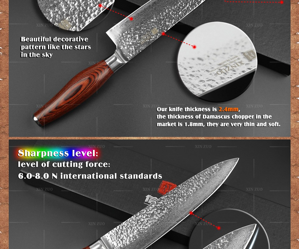 "Buy XINZUO Newest 73 layers 8"" chef knife Japan Damascus steel kitchen knife with Color wood handle high quality sharp free shipping cheap"