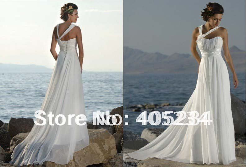 Classical beach bride dresses one shoulder wedding gown for Colored beach wedding dresses
