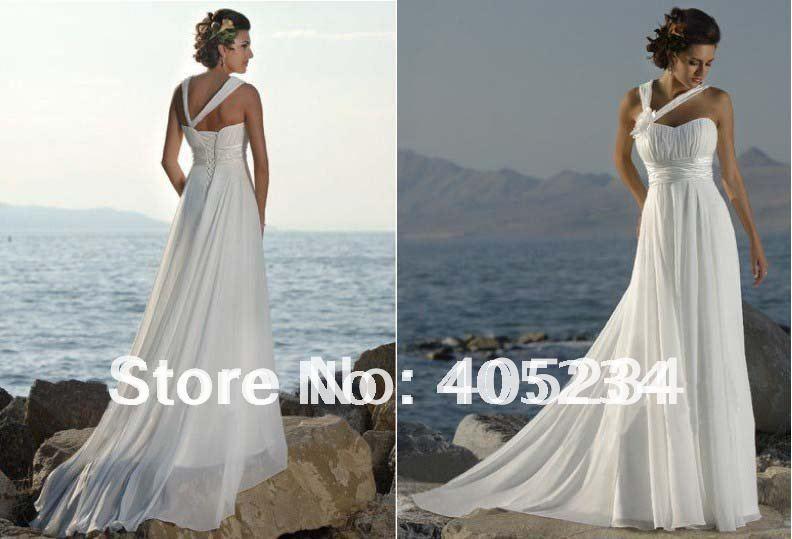 Classical Beach Bride Dresses One Shoulder Wedding Gown