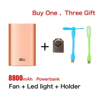 4 in 1 Portable charger 8800 mAh usb External Battery Pack power bank + led light + fan + phone ring holder for the phone laptop