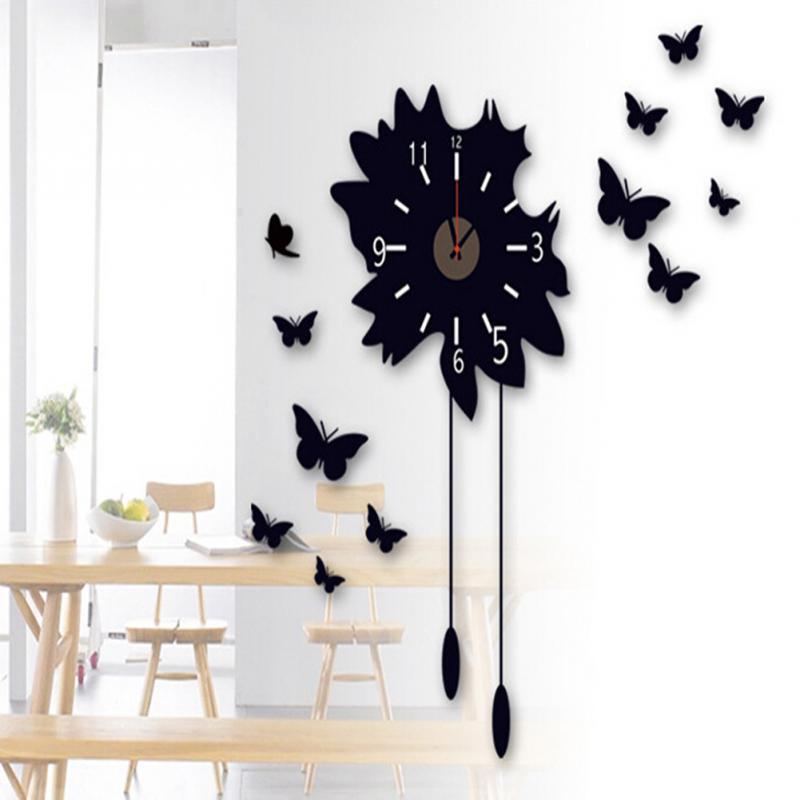 1pc Fashion Big Size Wall Clock Sticker DIY Brief Living Room House Home beautiful creative decor room wall clock