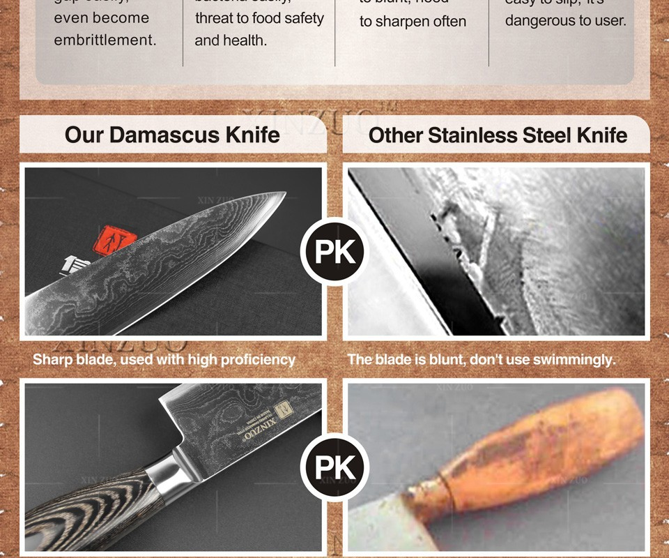 "Buy NEW XINZUO Damascus steel kitchen knife 8""inch chef knives high quality Japanese VG10 with K133 color wood handle Free shipping cheap"
