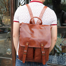 Stylish Mens Quality PU Leather British Retro Vintage Backpack Rucksack Bag