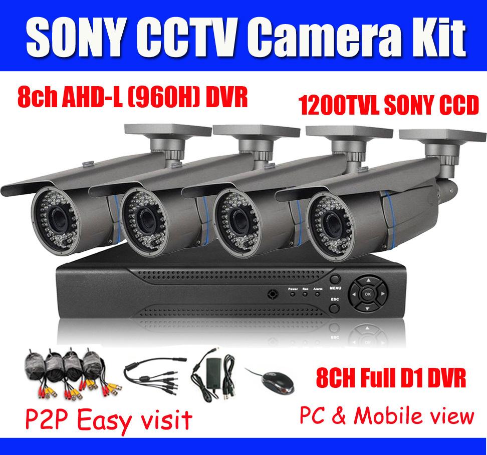 1200TVL SONY CCTV System 8ch AHD-L (960h) Full D1 DVR Kit Sony 138+8520 Bullet Cameras Original CCD 1080P HDMI Output - DragonEye Security Camera Ltd's store