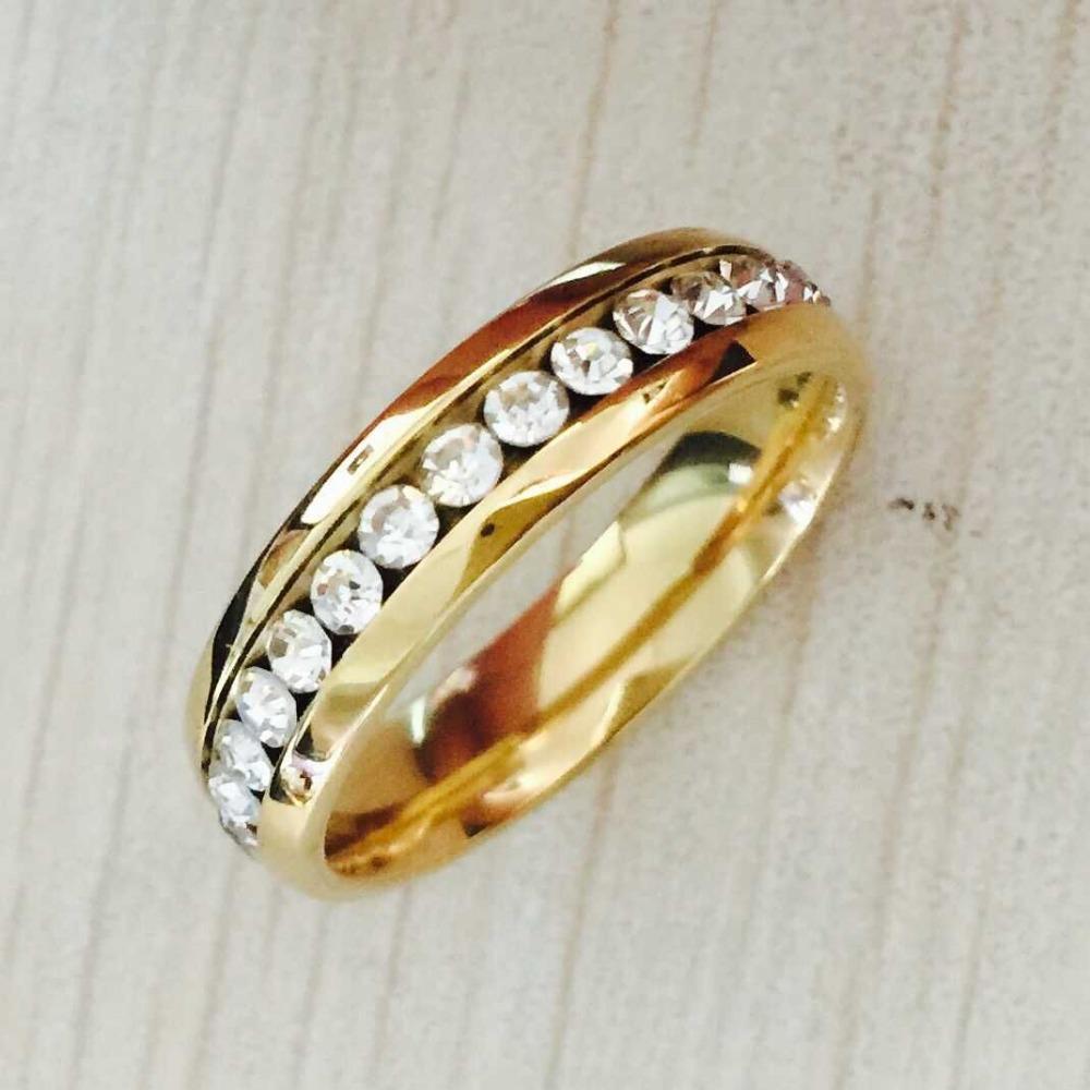 Princess jewelry 6mm full rhinestone CZ crystal 18K yellow gold filled anniversary rings for women full