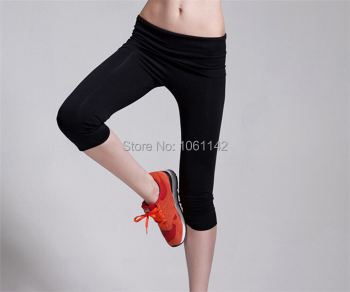 Women Professhional Sports Capris Lady's High Elastic Exercise Sports Pants Women Fitness Pants,High Quality For Summer(China (Mainland))