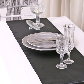 FREE SHIPPING 5 pieces Black Satin Table Runner Theme Wedding Special Occasion Decoration 30x275cm