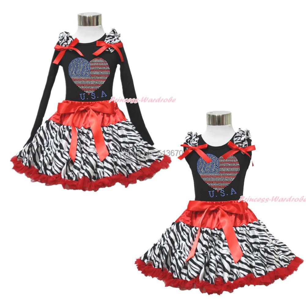 4th July Patriotic Rhinestone USA Heart Black Top Red Zebra Skirt Girl Set 1-8Y MAPSA0583(Hong Kong)