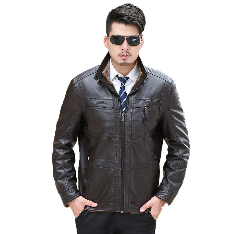 Men's genuine leather jacke 2017 New Men's Genuine Lambskin Leather Motorcycle Slim fit Biker Jacket for men(China (Mainland))