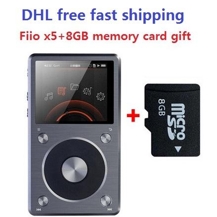 DHL Free shipping Fiio X5 2nd gen/X5 II/X5K Native DSD Decoding 192KHz / 24bit Hifi lossless Music Player with 8GB TF Card gift(China (Mainland))