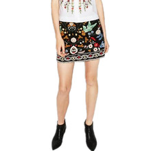 Buy Retro embroidery black floral short skirt Casual autumn winter high waist slim women skirt Vintage 90's mini skirt Bgb1697 for $20.15 in AliExpress store