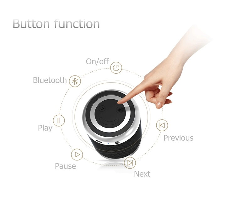 2016 New Metal Wireless Bluetooth Speaker Microphone Loudspeaker Subwoofer Battery Portable for Mobile Phone Computer xiaomi