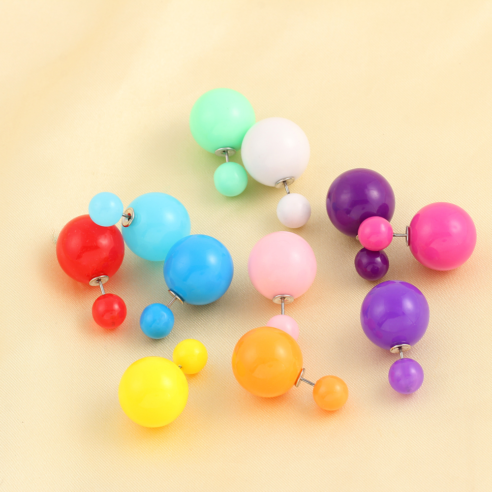 2015 New Jewelry Transparent brincos double side pearl earrings Cheap big earrings for women candy Colors