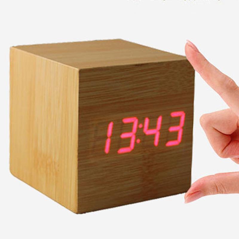 Promotion! Multi-colors Best High-end Digital Clocks Desktop Clock Home Decor Thermometer Wooden LED Alarm Clock X60*DA1610W#s1(China (Mainland))