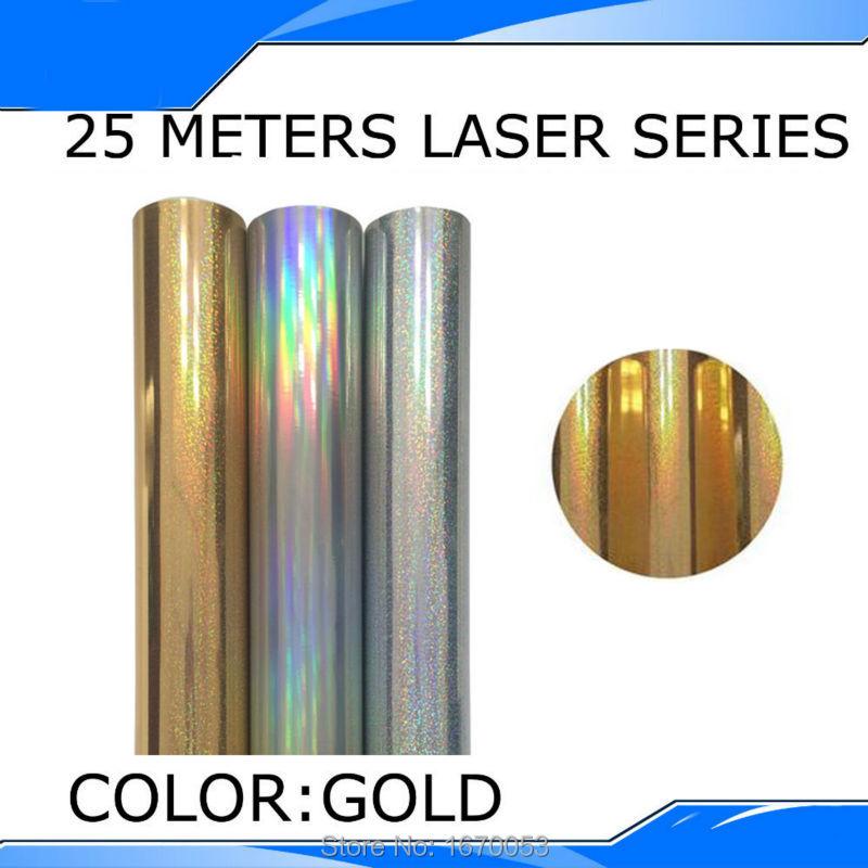 Free Fast Shipping PET Laser Heat Transfer Vinyl Film Cutting Plotter Vinyl Gold Color 25 Meters/Roll(China (Mainland))