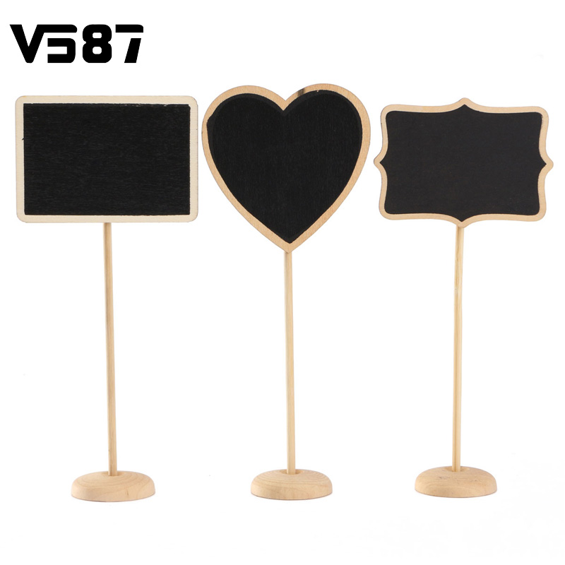 5pcs/bag 3 Shapes Wooden Chalkboard Backboard Wedding Party Table Decor Message Number Tag(China (Mainland))