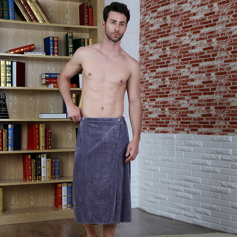 New Style Man Wearing Coral cashmere Bath Towel Absorbent Beach Towels Pocket Creative Bath Skirt Solid winter thickening soft(China (Mainland))