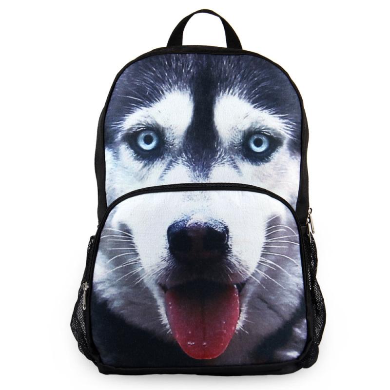 VEEVAN 20153D KUSKY Men Women Designer Backpack Animal Printing School backpacks Book Bags Fashion Shoulder Knapsack(China (Mainland))