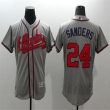 Mens Atlantas 24 Deion Sanders Baseball Jerseys Red White Home Road Alternate Flexbase Sewn Jersey(China (Mainland))