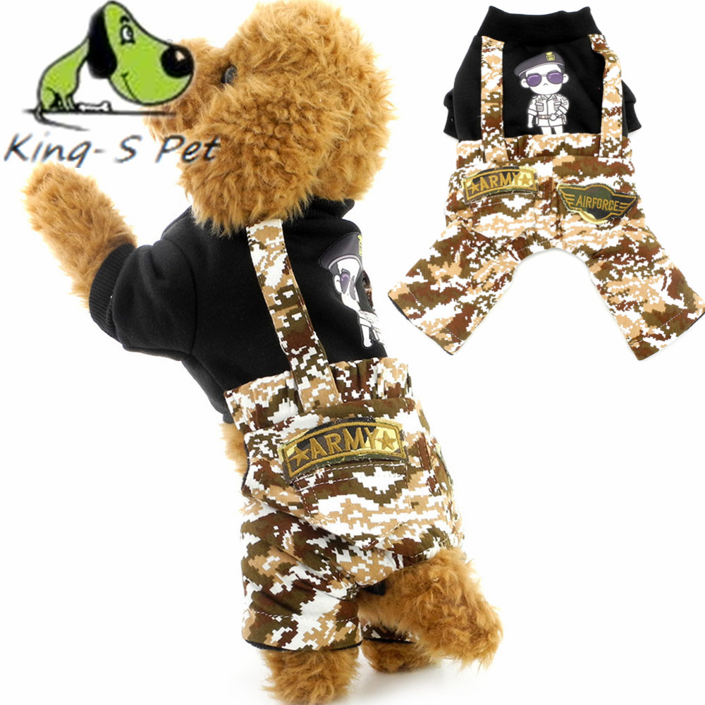KING-S PET Dog Clothes Four Leg Camouflage Cotton Coat Small Cat Sun Descendants Coat Jackets For Chihuahua Yorkshire Size S-XXL(China (Mainland))