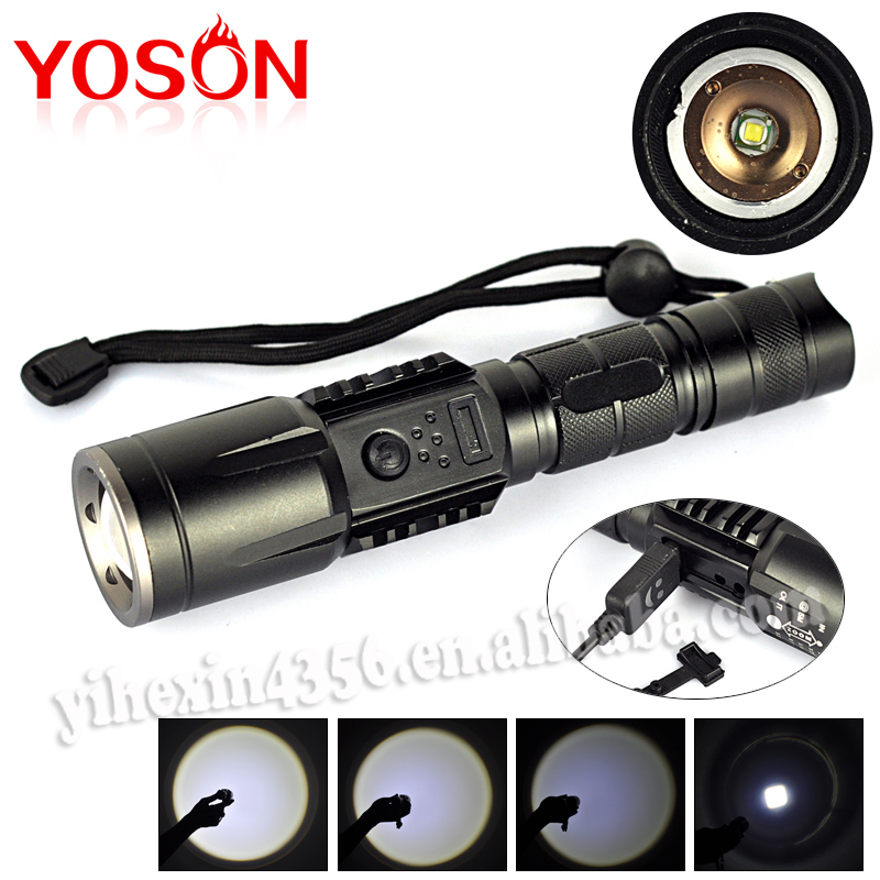 new 2000 lumen xm l t6 usb rechargeable flashlight torch. Black Bedroom Furniture Sets. Home Design Ideas
