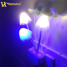 EU US Plug for choose Romantic Colorful LED Mushroom Night Light Bed Lamp Home Illumination Light sensor automatic startup(China (Mainland))