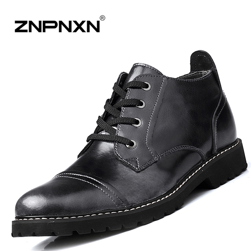 Men Boots Casual Autumn Winter Boots Men Shoes Genuine Leather Ankle Boots For Men Black Military Boots 2015