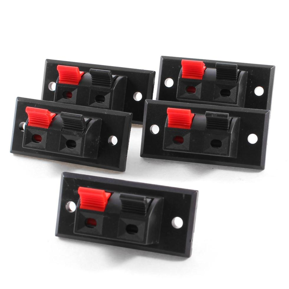 2015 Hot 5 Pcs 2 Positions Connector Terminal Push in Jack Spring Load Audio Speaker Terminals