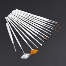 15Pcs Cosmetic Nail Art Polish Painting Draw Pen Brush Tips Tools Set UV Gel Worldwide FreeShipping