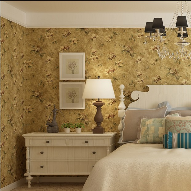 wall stickers home decor American vintage rustic flower wallpaper background wallpaper eco-friendly non-woven wallpaper