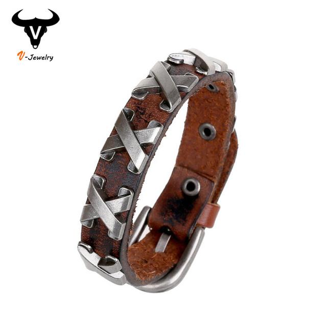 Прохладный 100% натуральная кожа толстый мужской браслет металлический крест заклепки ...