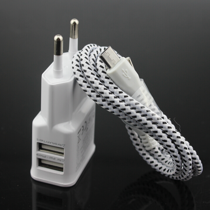 1 set white 2 Port USB 5V 2A EU Wall Charger + Micro USB Data Sync Cable Braided Nylon Woven For Samsung S6 edge S4 S3 For LG(China (Mainland))