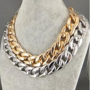 Europe and Punk Coarse Textured Plastic Chain Necklace Jewelry Wholesale Gold and Sliver Color