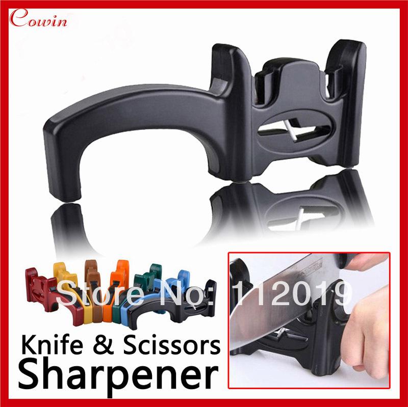 New Multifunction Brand Alloy & Ceramic Knife Sharpening System Sharpner Kitchen Knives/Scissors Sharpener with ABS Handle(China (Mainland))